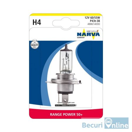 Bec auto far halogen H4 Narva Range Power +50, 12V, 60/55W, blister 1 bec