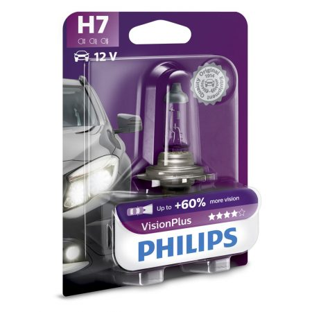 Bec auto far halogen H7 Philips Vision Plus 60, 12V, 55W, blister 1 bec