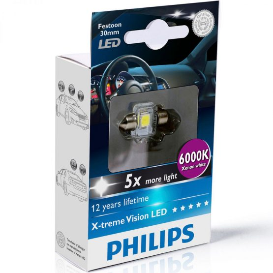 Bec LED auto interior Festoon C5W 30 mm Philips Xtreme Vision LED, 6000K, 12V, 1W