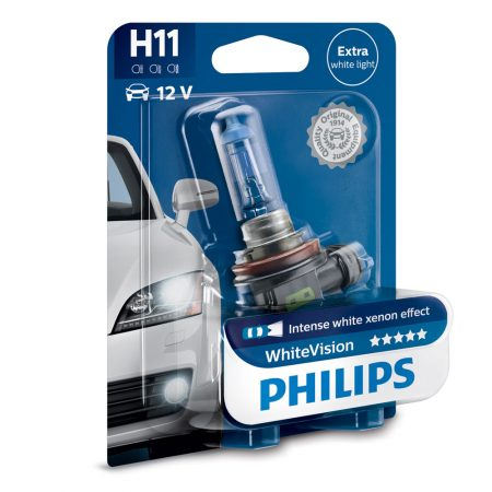 Bec auto far halogen H11 Philips White Vision, 12V, 55W, blister 1 bec