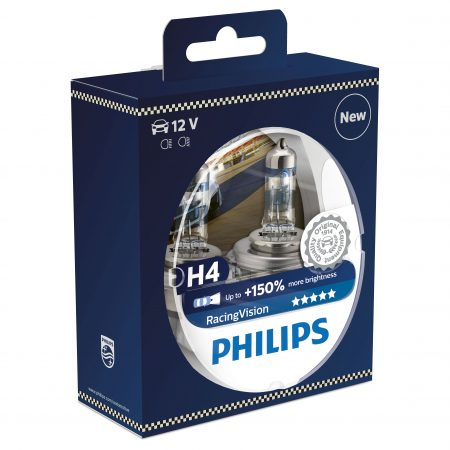 Set 2 becuri auto far halogen Philips H4 Racing Vision +150%, 55 / 60 W, 12V