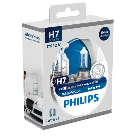 Set 2 becuri auto far halogen H7 Philips White Vision, 12V, 55W