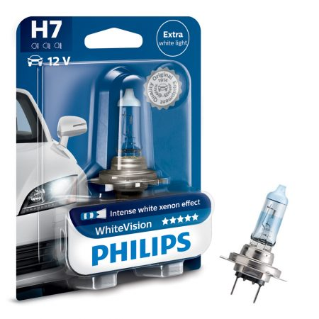 Bec auto far halogen H7 Philips White Vision, 12V, 55W, blister 1 bec