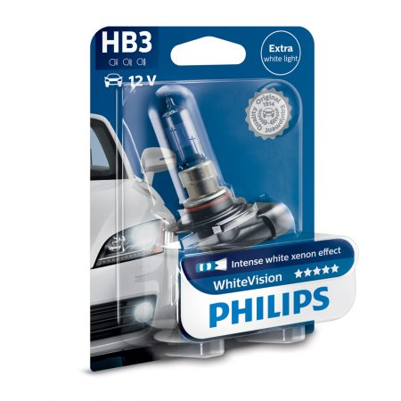 Bec auto far halogen HB3 Philips White Vision, 12V, 65W, blister 1 bec