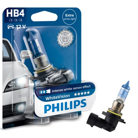 Bec auto far halogen HB4 Philips White Vision, 12V, 55W, blister 1 bec