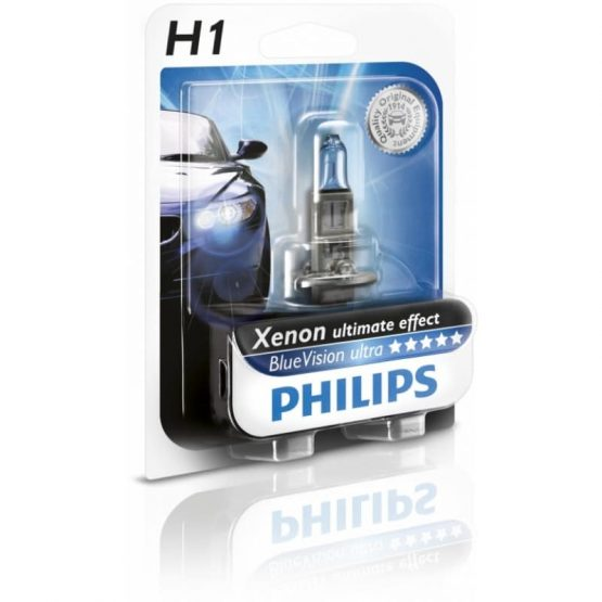 Bec auto far halogen Philips H1 Bluevision Ultra, 12V, 55W, blister 1 buc