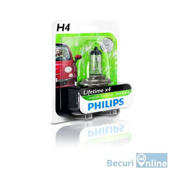 Bec auto far halogen H4 Philips Long Life Eco Vision, 12V, 60/55W, blister 1 bec