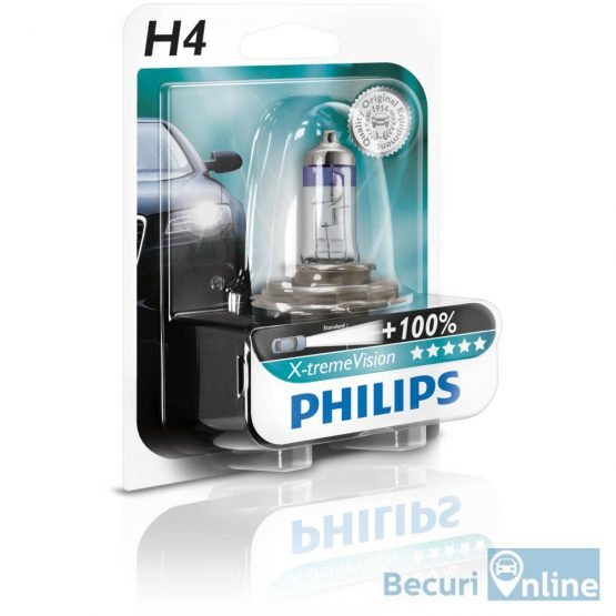 Bec auto far halogen H4 Philips Xtreme Vision +130, 12V, 60/55W, blister 1 bec