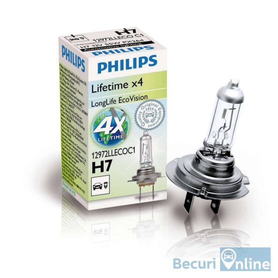 Bec auto far halogen H7 Philips Long Life Eco Vision, 12V, 55W, cutie 1 bec