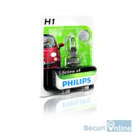 Bec auto far halogen H1 Philips Long Life Eco Vision, 12V, 55W, blister 1 bec