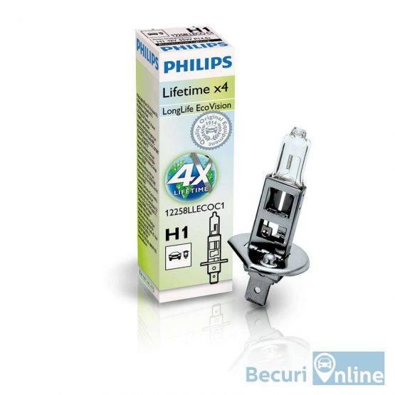 Bec auto far halogen H1 Philips Long Life Eco Vision, 12V, 55W, cutie 1 bec