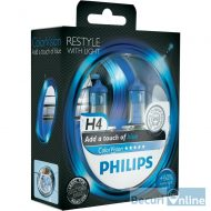 Becuri far H4 Philips Color Vision Blue, 12V, 60/55W, set 2 buc