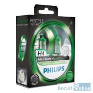 Becuri far H4 Philips Color Vision Green, 12V, 60/55W, set 2 buc