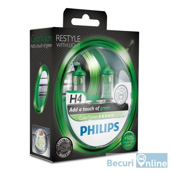 Set 2 becuri auto far halogen H4 Philips Color Vision Green, 12V, 60/55W