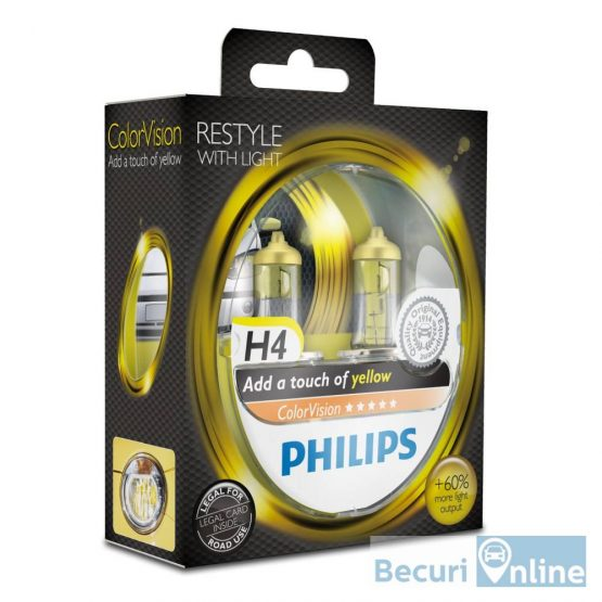 Set 2 becuri auto far halogen H4 Philips Color Vision Yellow, 12V, 60/55W