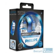 Set 2 becuri auto far halogen H7 Philips Color Vision Blue, 12V, 55W
