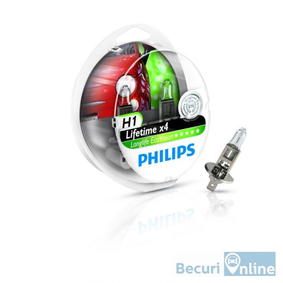Set 2 becuri auto far halogen H1 Philips Long Life Eco Vision, 12V, 55W