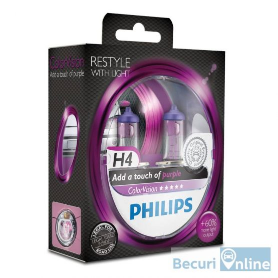 Set 2 becuri auto H4 Philips Color Vision Purple, 12V, 60/55W