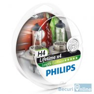 Set 2 becuri auto far halogen H4 Philips Long Life Eco Vision, 12V, 60/55W