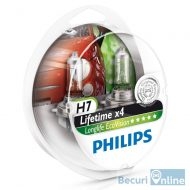 Set 2 becuri auto far halogen H7 Philips Long Life Eco Vision, 12V, 55W