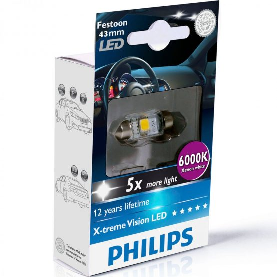 Bec LED auto interior Festoon C5W 43 mm Philips Xtreme Vision LED, 6000K, 12V, 1W