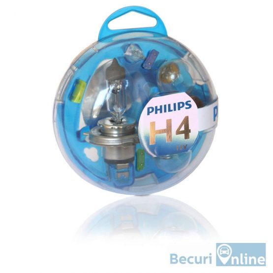 Set becuri auto de rezerva H4 Philips Essential Box, 12V