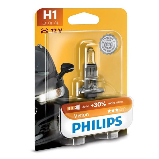 Bec auto far halogen H1 Philips Vision, 12V, 55W, blister 1 bec