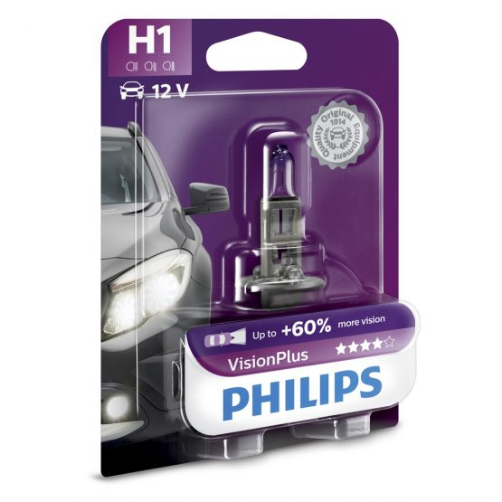 Bec auto far halogen H1 Philips Vision Plus 60, 12V, 55W, blister 1 buc