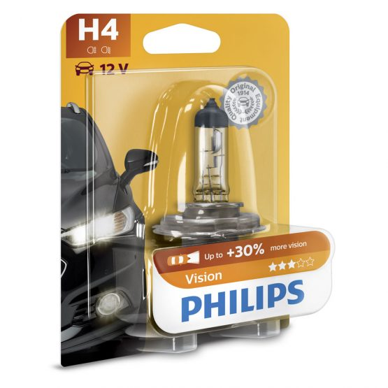 Bec auto far halogen H4 Philips Vision, 12V, 60/55W, blister 1 bec