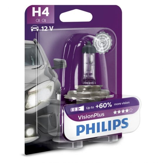 Bec auto far halogen H4 Philips Vision Plus 60, 12V, 60/55W, Blister 1 bec