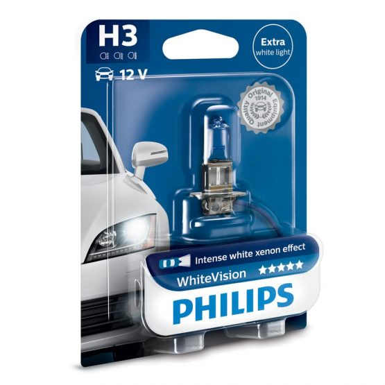 Bec auto far halogen H3 Philips White Vision, 12V, 55W, Blister 1 bec