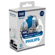 Becuri far H4 Philips White Vision, 12V, 60/55W, set 2 buc