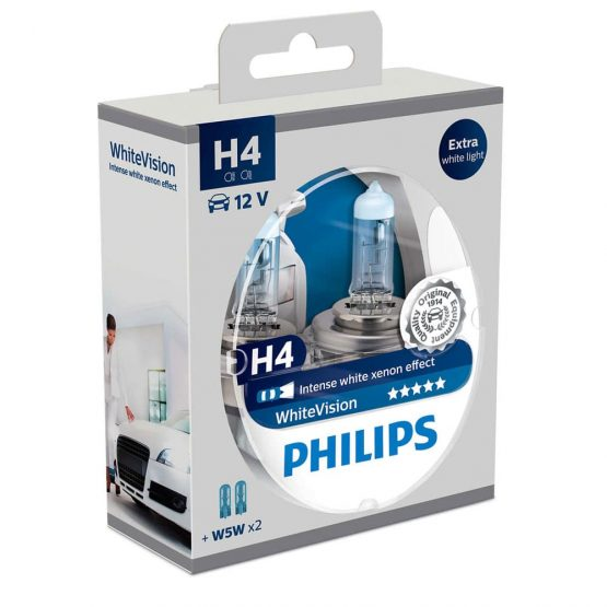 Set 2 becuri auto far halogen H4 Philips White Vision, 12V, 60/55W