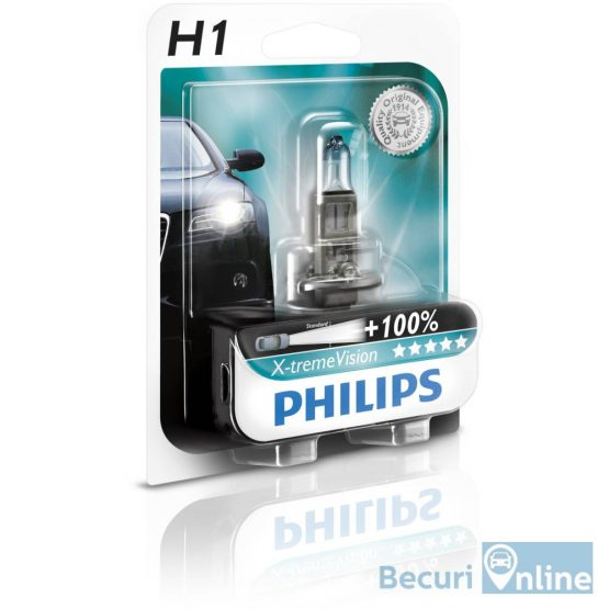 Bec auto far halogen Philips H1 Xtreme Vision +130, 12V, 55W, blister 1 buc