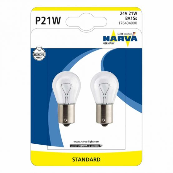 Becuri auxiliare camion P21W Narva Standard, 24V, 21W, blister 2 becuri