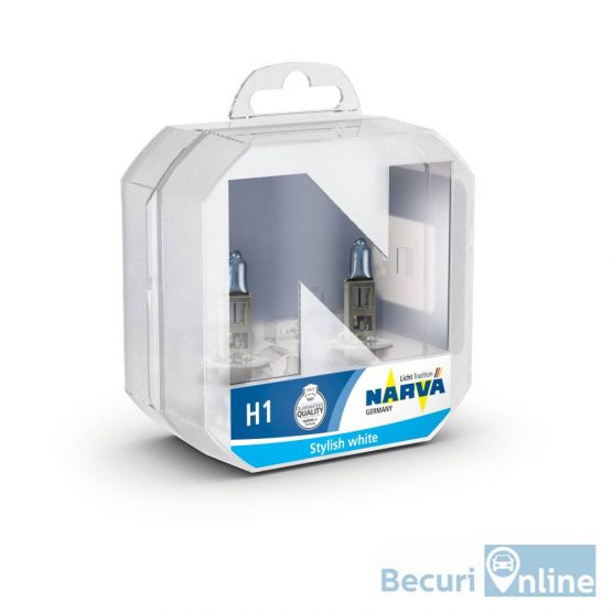 Set 2 becuri auto NARVA H1 Range Power blue, 12V, 55W