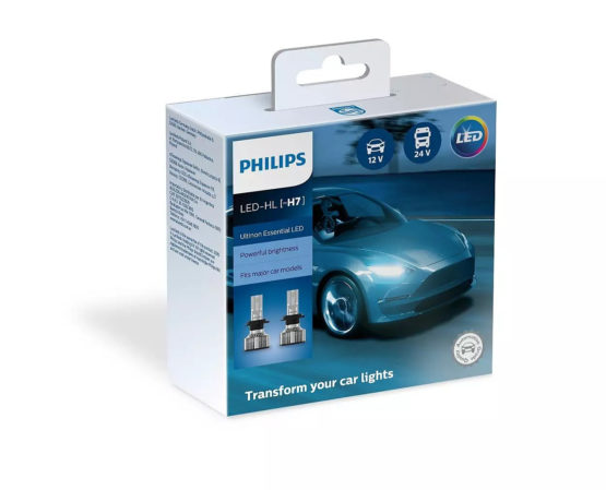 Leduri auto proiectoare Philips H7 Philips Ultinon Essential LED, 6500 K, 12 / 24 V, 20 W