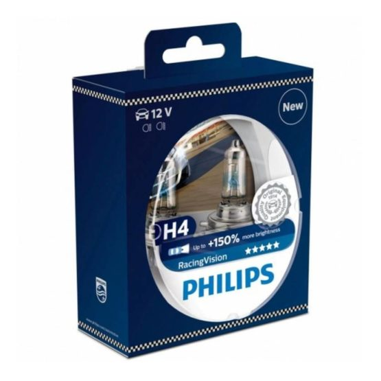 Becuri far Philips H4 Racing Vision +150%, 55 / 60 W, 12V